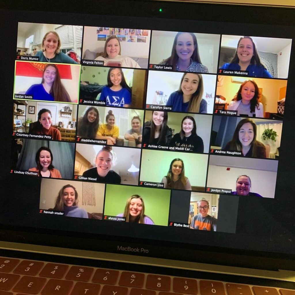 A group of women on a Zoom call.